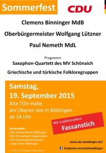 CDU Sommerfest 2015 Plakat - Anzeige