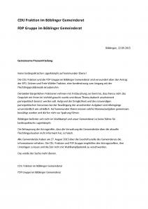 Pressemitteilung der CDU Fraktion und FDP Gruppe im Böblinger Gemeinderat
